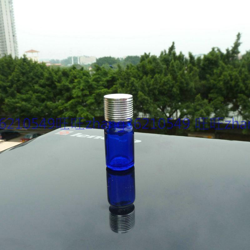 5m 파란 유리 에센셜 오일 병 반짝이 은색 알루미늄 캡. 오일 바이알, 에센셜 오일 용기