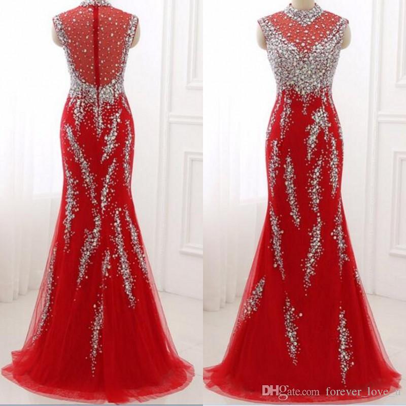Luksusowe Sparkly Kryształy Prom Sukienka Czerwona Syrenka Wysoka Neck Bez Rękawów Prom Dresses Beades Cekiny Illusion Back Lace Tulle Suknie Wieczorowe