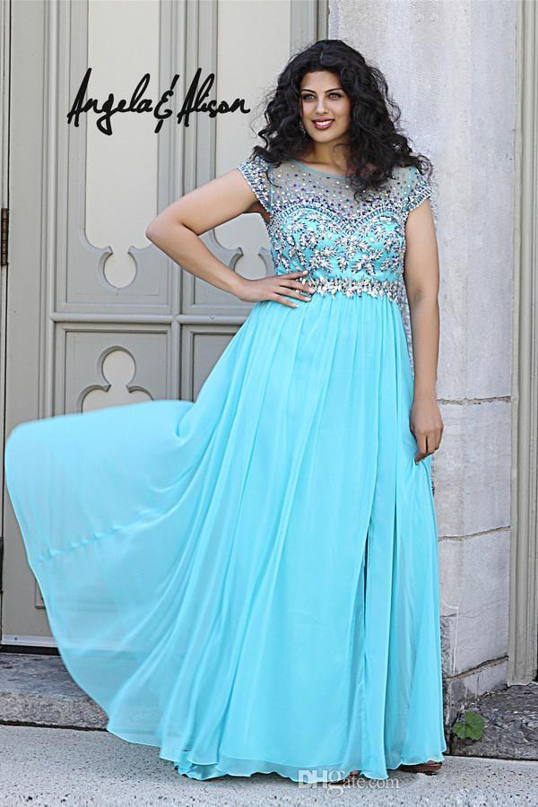 2015 Light Turquoise Maternity Angela Plus Size Prom Dresses Bateau Empire  Chiffon Formal Evening Gowns Beads Crystal Pageant Party Dress Junior Plus  ...