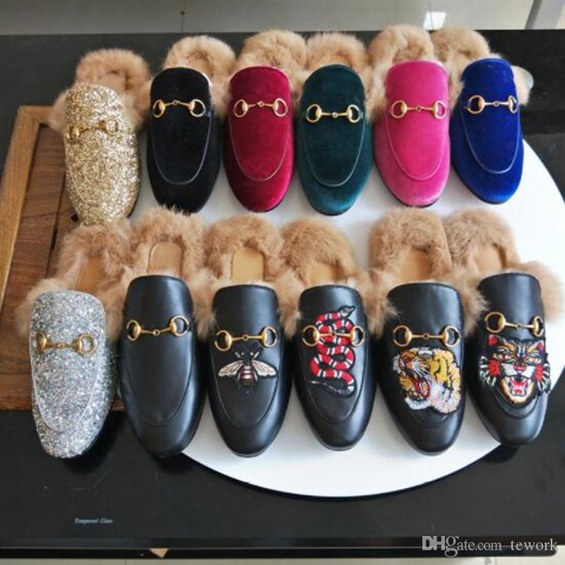 Fall And Winter Ladies luxury fur mule slippers ladies leather flat Suede mule shoes love shoes fashion outdoor slippers