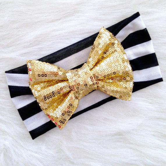 Oro Glam Bow White Headwrap Girl Fascia Archetto Head Wrap Photo Prop Bambini Accessori per capelli Copricapo floreale