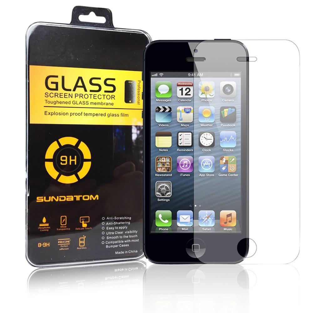 Sundatom رقيقة جدا مدور حافة 2.5D جودة عالية حامي الشاشة الزجاج المقسى ل iPhone5 iPhone 5 5S 6 واقية السينمائي
