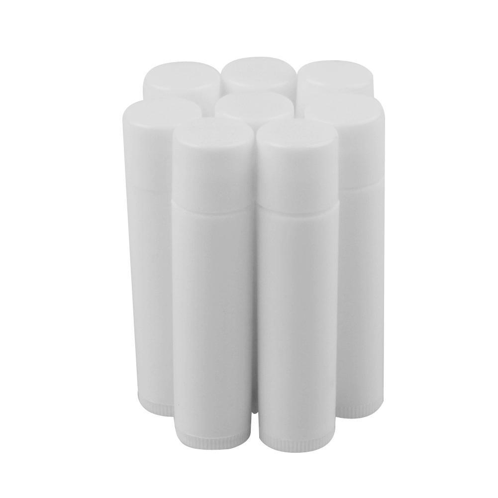 1000 adet 5 ML Kozmetik Boş Chapstick Dudak Parlatıcısı Ruj Balsamı Tüp + Kapaklar Konteyner Temizle Beyaz