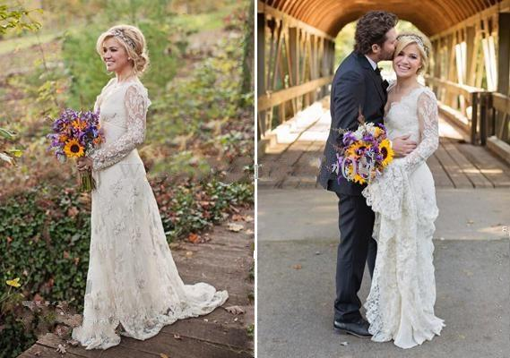 2019 Wspaniała głęboka aplikacja na dekolcie Kelly Clarkson z długim rękawem Linia Sheer White Lace Suknie ślubne z pociągiem Sweet