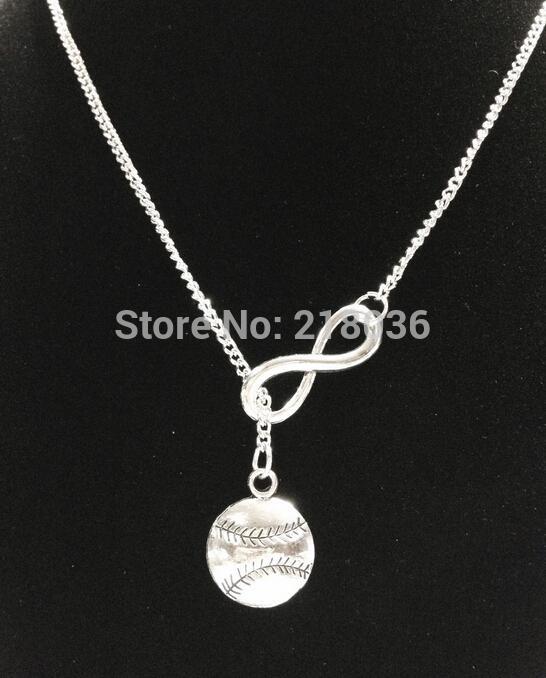 اللانهاية البيسبول البيسبول القلائد قلادة للمرأة خمر الفضة سحر قلادة سترة سلسلة القلائد زوجين الشرير مجوهرات diy الساخن L449