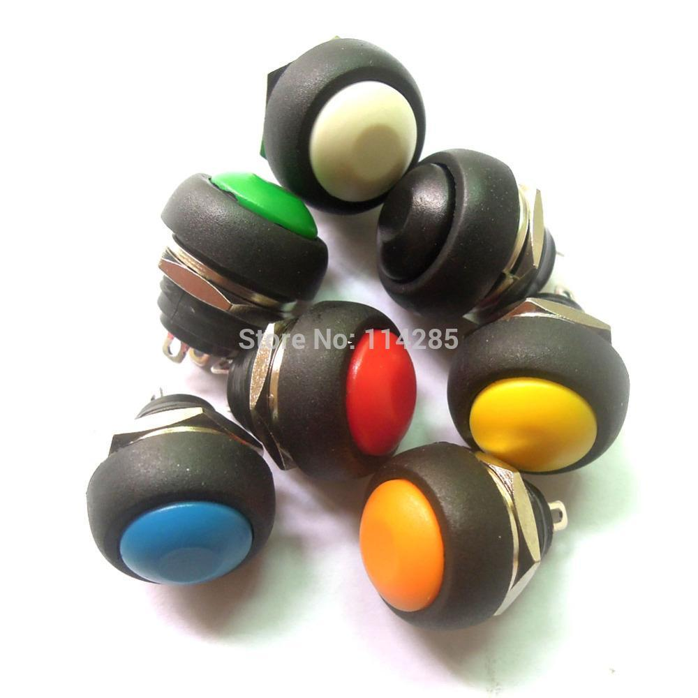 100pc Mini Round Switch 12mm Waterproof Momentary Push Button Switch 250V 3A