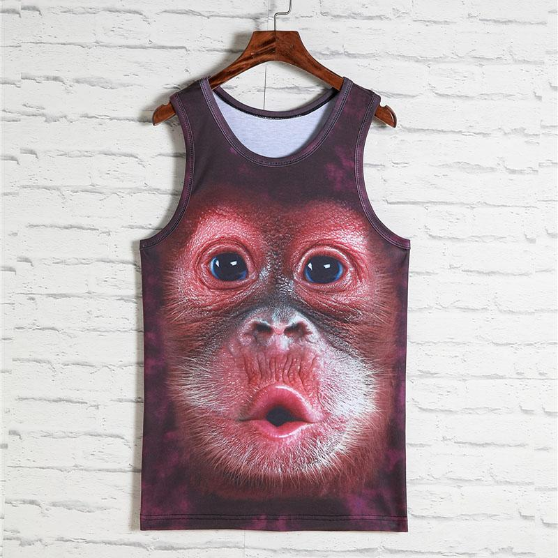 Wholesale- 2017 Fashion 3d Animal Print Vest Men Gorilla Monkey Tiger Cat Dog Wolf Hamster Leopard Funny Tank Tops Male Sleeveless T-shirts