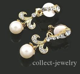 crystal pearl lady's earings 33mm*12mm) (ming )