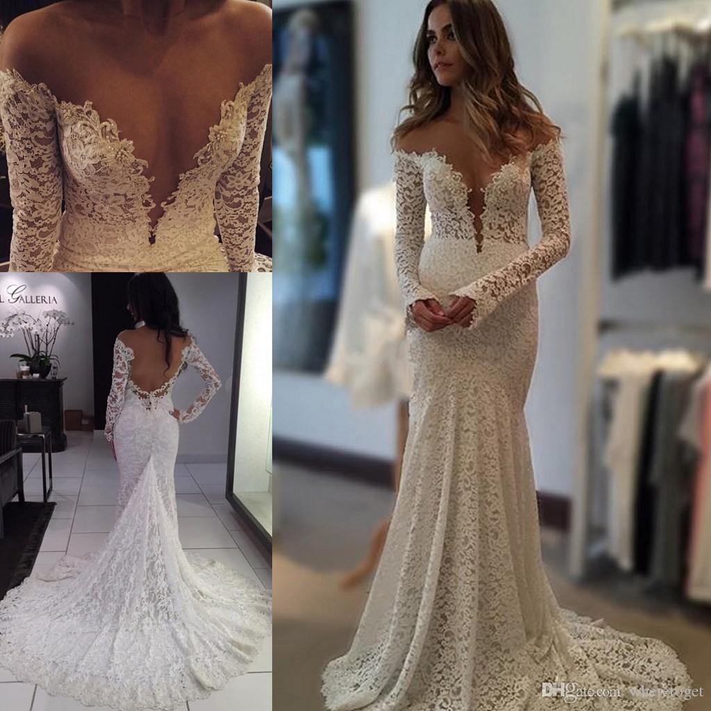2016 Berta Vintage Lace Wedding Dresses Mermaid Sheer Long Sleeves Backless  Off Shoulder Beach Bridal Gowns Plus Size Wedding Gown 2015 Bridal Gown