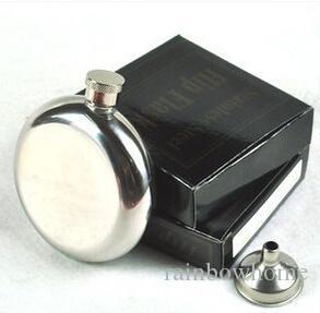 5oz Stainless Steel Hip Flask Whiskey Liquor Wine Bottle Pocket Containers Russian Flagon Flasks for Travel Outdoor Round Mirror Retail Box