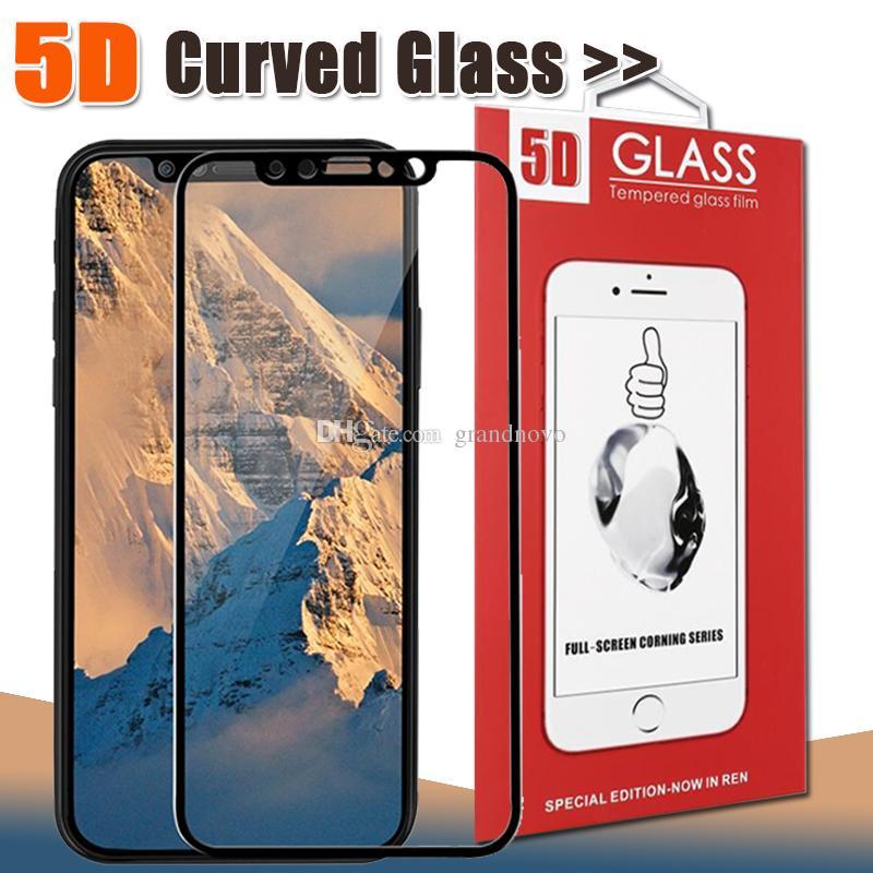 5D منحني زجاج المقسى ملء الشاشة حامي للحصول على اي فون 11 برو ماكس XS XR X 8 زائد 7 6 سامسونج غالاكسي J2 J3 J5 J6 J7 برو A6 A8 مع حزمة