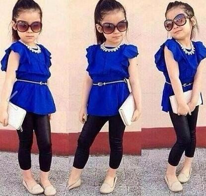 2016 Hot Sale Designer children clothing set Girls clothes suit Blue Shirt Dress+Black Leggings Kids Casual clothes