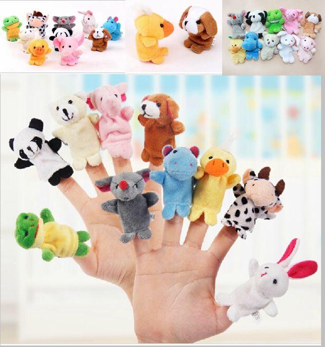 1000pcs / lot dhl fedex sammet plysch finger marionetter djur marionetter leksaker finger marionett barn baby söt lek berättelse (diverse djur
