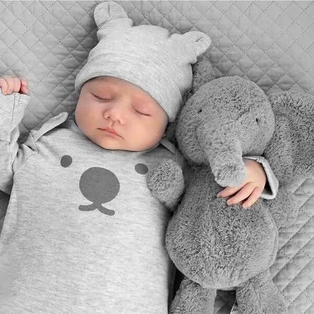 23 cm lindo felpa gris elefante juguetes muñecas bebé durmiendo espalda almohada cojín suave relleno elefante juguetes de peluche regalo de los niños