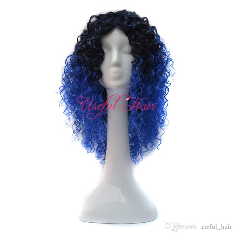 FREE SHIPPING Micro braid wig african american braided wigs KINKY CURLY STYLE OMBRE GREY COLOR BOUNCY 18inch synthetic wigs for black women