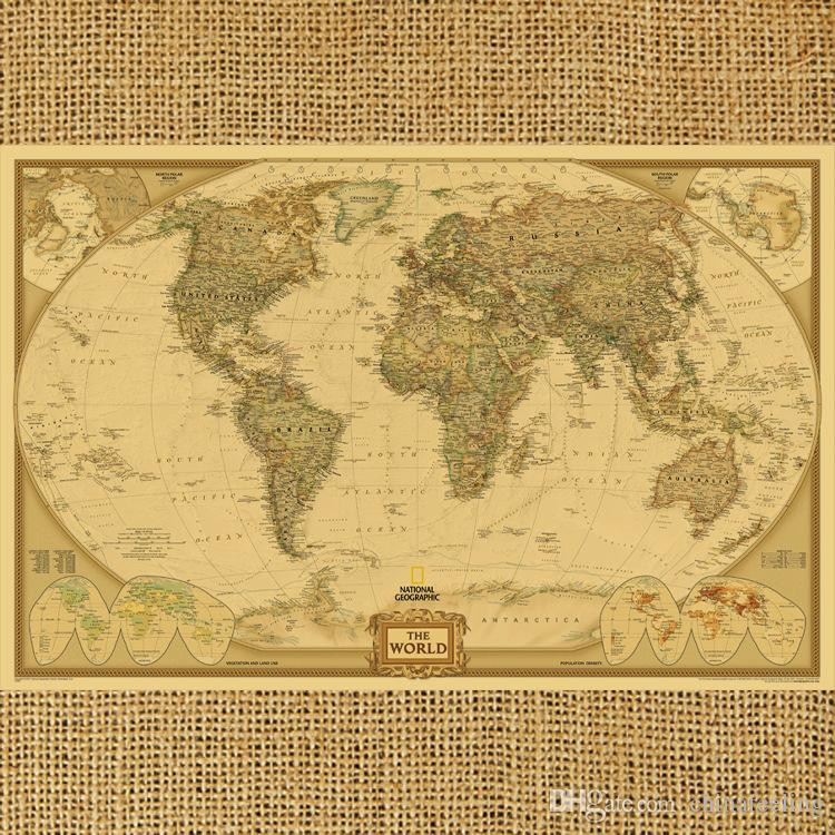 2015 New Vintage Style World Map Wall Paper Archaize Exquisite Kraft ...