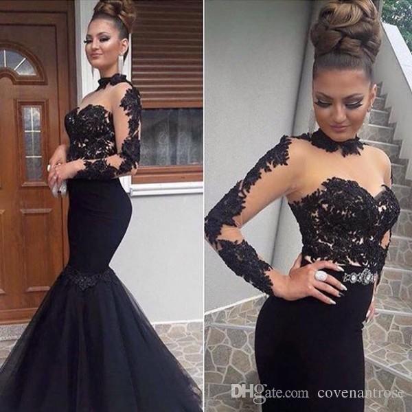 Magníficos vestidos de baile negro Evening Wear apliques de encaje de manga larga Vestido de fiesta sirena de cuello alto Illusion Formal Ocasión especial de mujeres vestido