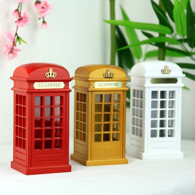 London Street Red Cabina telefónica Piggy Bank Caja de monedas de madera británica Dinero Piggy Souvenir Model Box