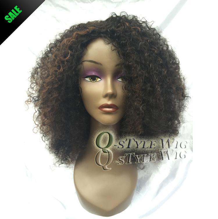 Kanekalon короткие итальянский Яки кудрявый вьющиеся волосы парик, синтетический черный микс коричневый цвет мода афро-американские парики для чернокожих женщин