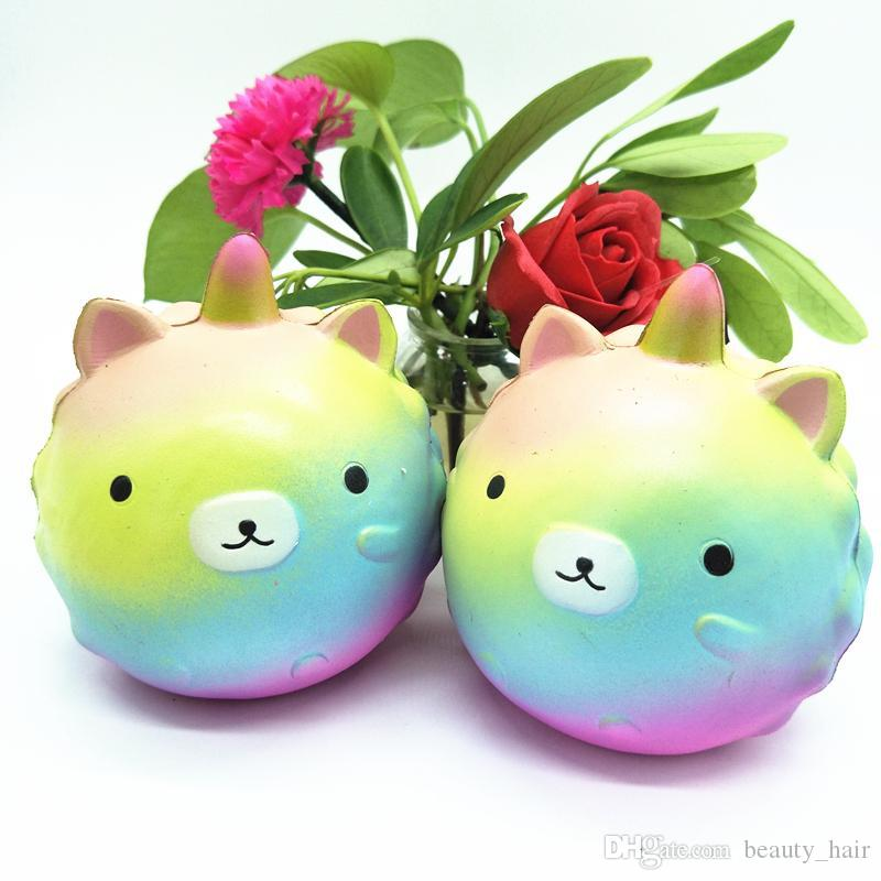 Jumbo Kawaii Squishy Lento Rising Unicorns Bonito Urso Do Arco-íris / Panda Telefone Pulseira De Pão Pingente Bolo Perfumado Brinquedos Por Atacado