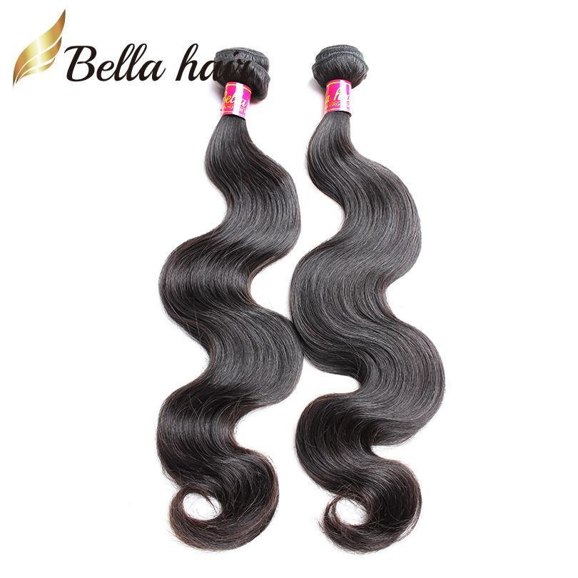 "Camboya Europea Virgen Mongoliano Virgen Human Color Color Natural Body Wave Weft Remy Human Hair Bundles 8 ""-30"" 2pc / lot Bellahair"