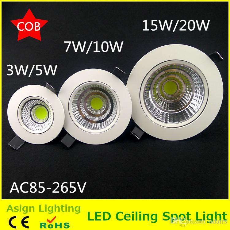 3W / 5W / 7W / 10W / 15W / 20W COB led tavan ışığı spot spot yüksek parlaklık plafond gömme tavan ışığı, sıcak / soğuk beyaz lambalar