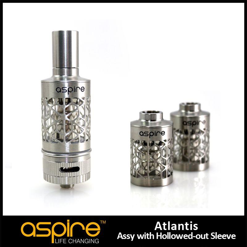 New Arrival Aspire Atlantis Hollowed-Out Rękaw 2ML Wymiana Cewki Atomizer Zbiornik Ze Stali Nierdzewnej Rura do elektronicznych papierosów Atomizer