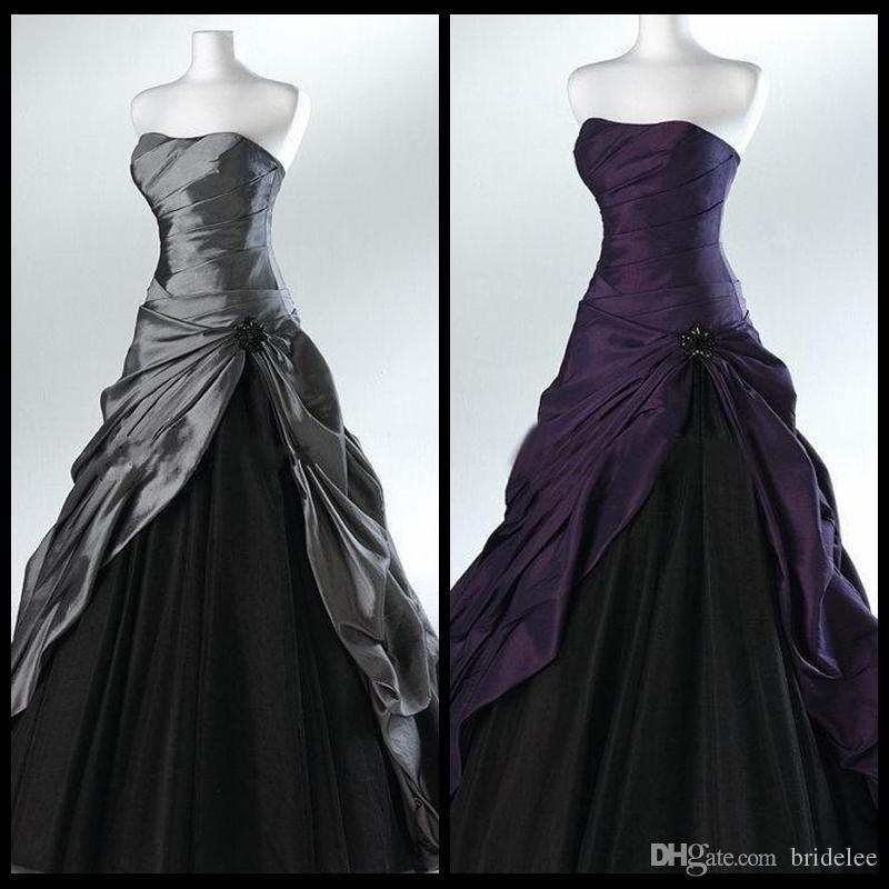 Robe de mariée gothique violette et noire robes de mariée pour mariées sans bretelles longueur de plancher gris longueur réelle robes de mariée Vestidos de novia