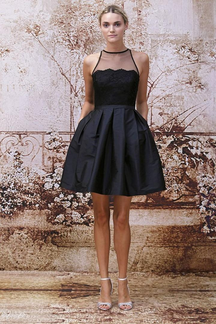 2015 Black Short Cocktail Dresses for Young Girl Graduation Gowns A Line Sheer Neck Lace Prom Dress Special Occasion Dresses