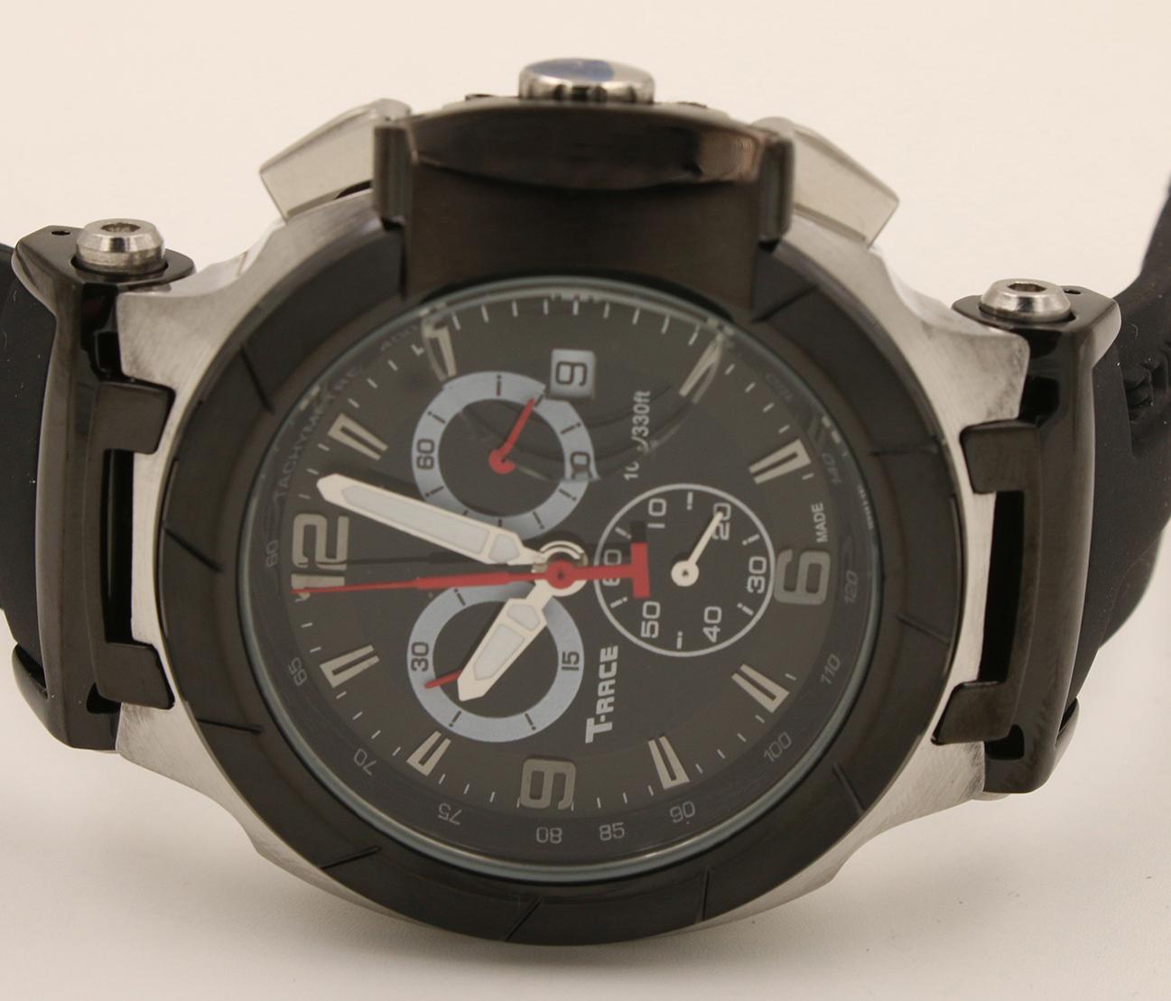 Sıcak satış Kuvars Chronograph İzle erkekler T-yarış İzle Portatil T0484172705702 saatler siyah lastik bant COUTURIER 1853