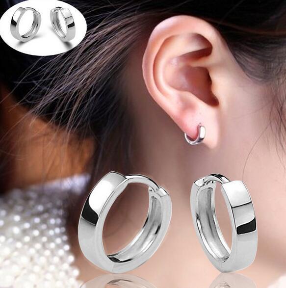 Hoge Kwaliteit 925 Sterling Verzilverd Glanzende Side Oorknopjes voor Vrouwen Mannen Oor Clip Mode-sieraden