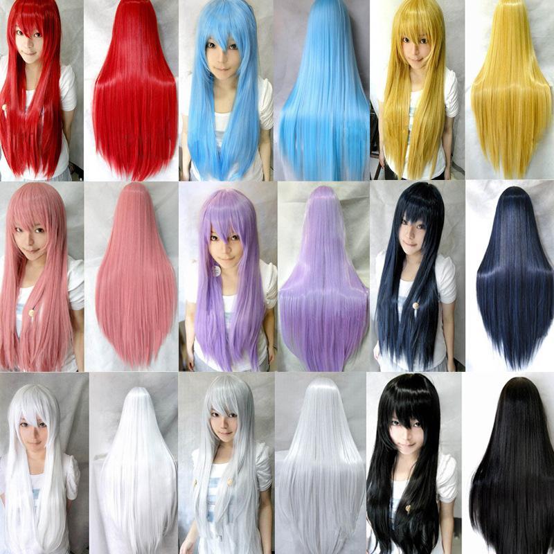 Бесплатная доставка 31,5 '' конфеты цвета женщин термостойкие розовый коричневый черный синий красный желтый белый блондин зеленый прямые косплей парики
