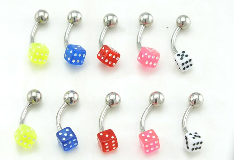 B30 BN Stainless Steel Various Colours DICE Belly Navel Bar Body Piercing 12mm