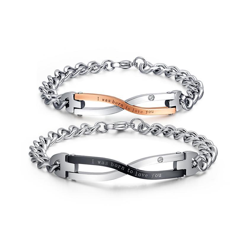 2014 تصميم العلامة التجارية أساور للأزواج الفولاذ المقاوم للصدأ الحب المجوهرات بالجملة