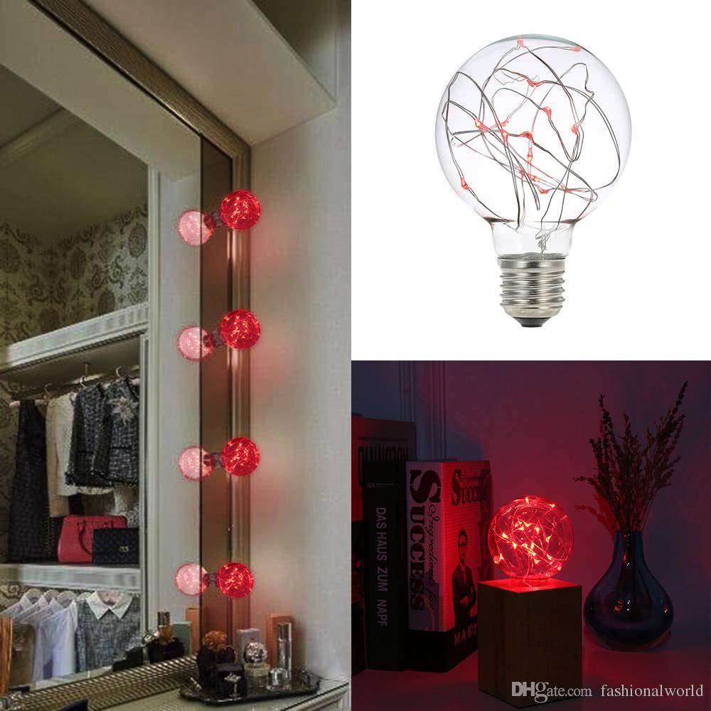 220-240V E27 Copper Wire String Light Fairy LED Bulb Red Filament ...