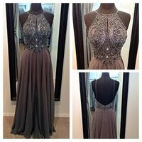 Big Discount Sexy Gray Halter Backless Beaded Long Evening Dresses 2015 Floor Length robe de soiree Elegant Women Evening Gowns