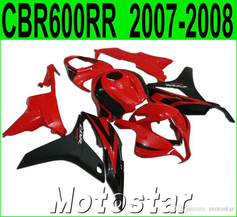 Injection molding Customize bodywork for HONDA CBR600RR 2007 2008 black red motorcycle fairing kit CBR 600RR F5 07 08 fairings LY62