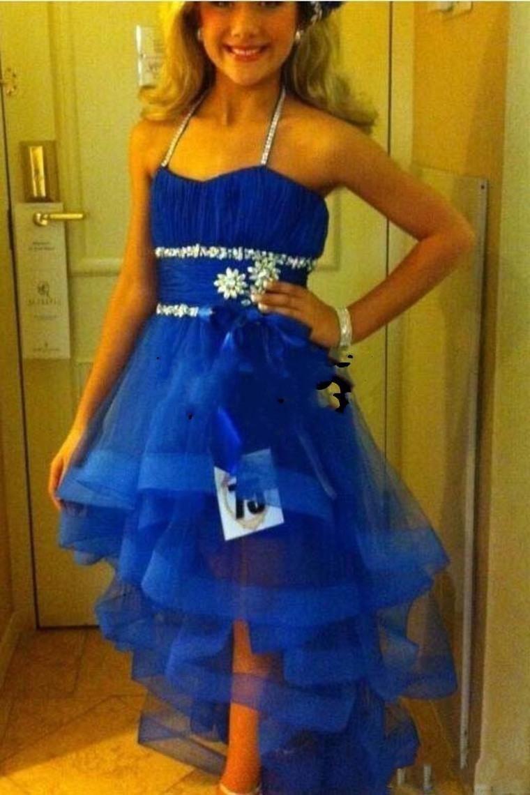 2015 Cute Hi lo Little Flower Girls Pageant Dresses For Kids Glitz Ritzee Beaded Organza Royal Blue Spaghetti A Line Cheaphalloween costumes