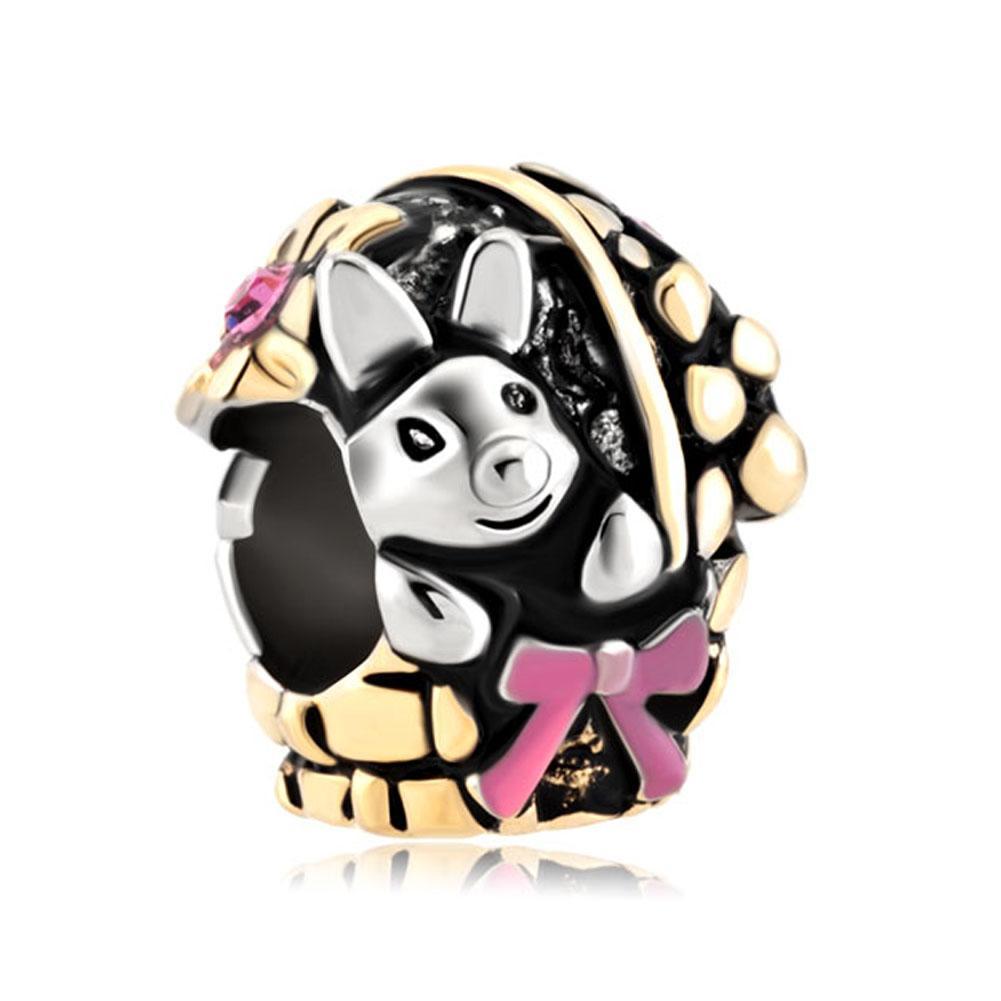 Gepersonaliseerde sieraden konijn verstopt in bloem mand Europese kraal metalen bedel dames armband met grote gat pandora chamilia compatibel