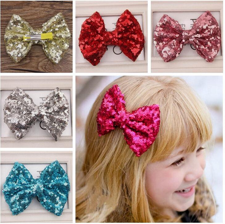 11 färger baby flickor sequin tyg båge hårklipp alligator clip boutique söta barn hårbågar barettes barn hår tillbehör hårnålar
