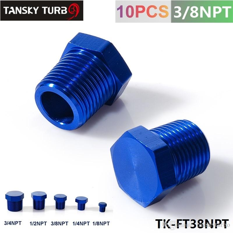 "Tansky - 3/8""NPT Aluminum Hex Head Male Port Plug Block Off Fitting Adapter Blue TK-FT38NPT"
