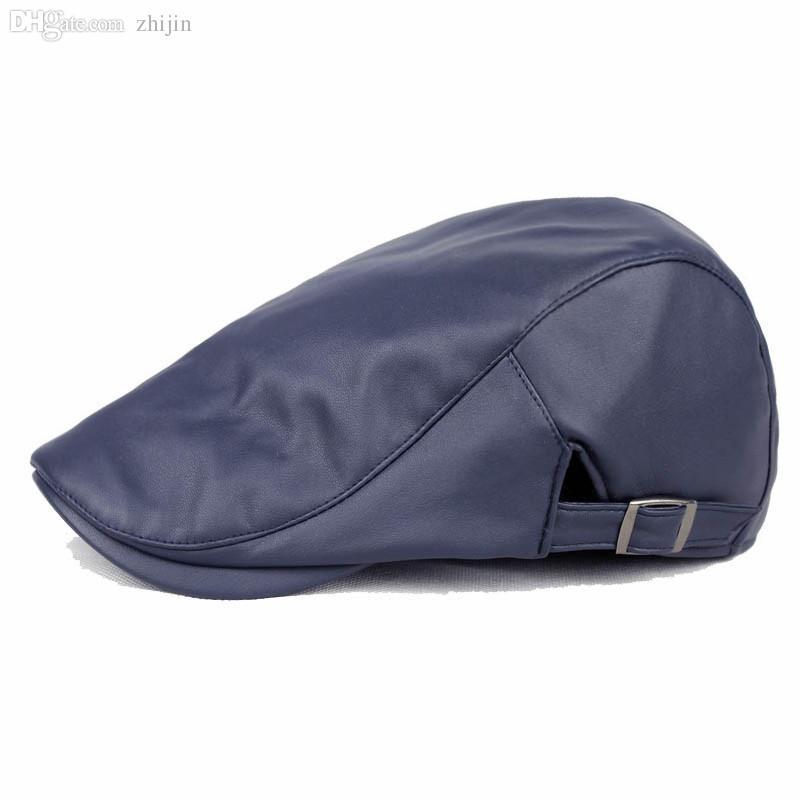 2016 Fashion Leather Beret Hat Winter Planas Gorras Cap for Men Warm Boinas Flat Berets Caps for Male 5 Colors HT51050+20