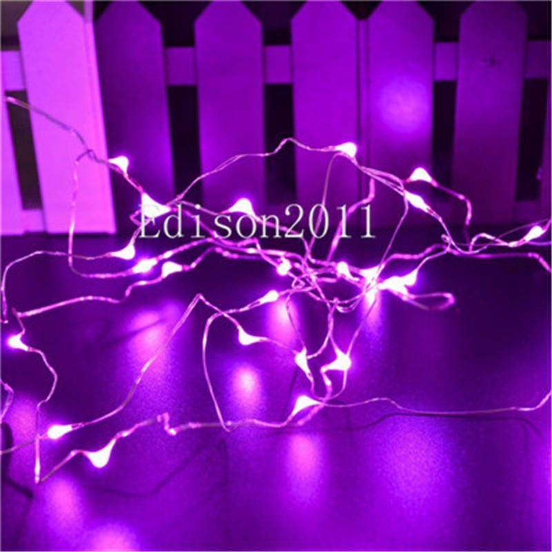 Free shipping 5M 50 Leds Battery Powered Silver Copper Wire LED String Lights Fairy Chistmas Lights Wedding Decoration RGB White Lighting