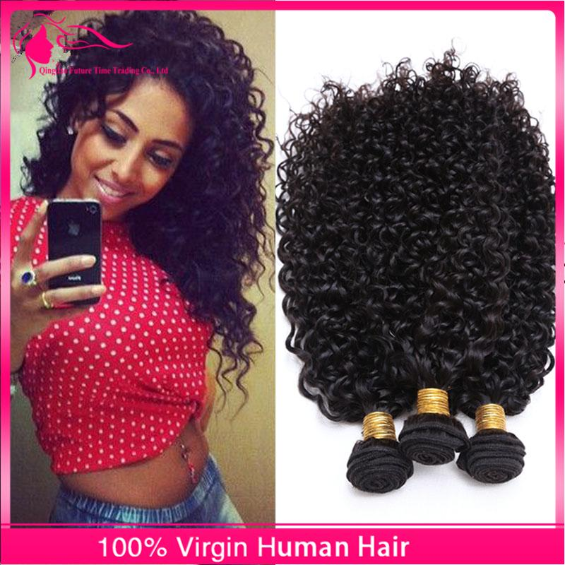 New Arrival 3Pcs Kinky Curly Virgin Human Hair Weaves Natural Color Brazilian Hair Bundles Afro Kinky Curly Hair Extensions For Black Woman
