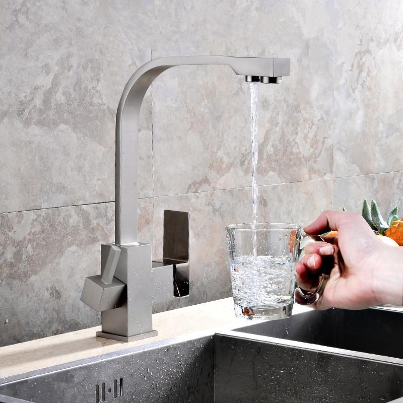 Rolya Cubix Modern Brass Nickle Brushed Single Handle Kitchen Faucet Sink Mixer Drinking Water Filter 3 Way Tap