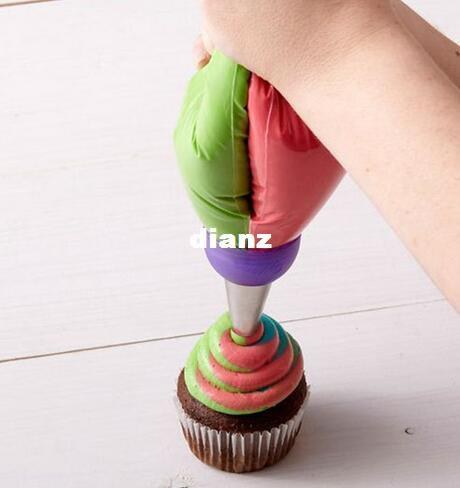 New Arrive Icing Piping Bag Nozzle Converter Tri-color Cream Coupler Cake Decorating Tools For Cupcake Fondant Cookie 3 Hole 3 Color