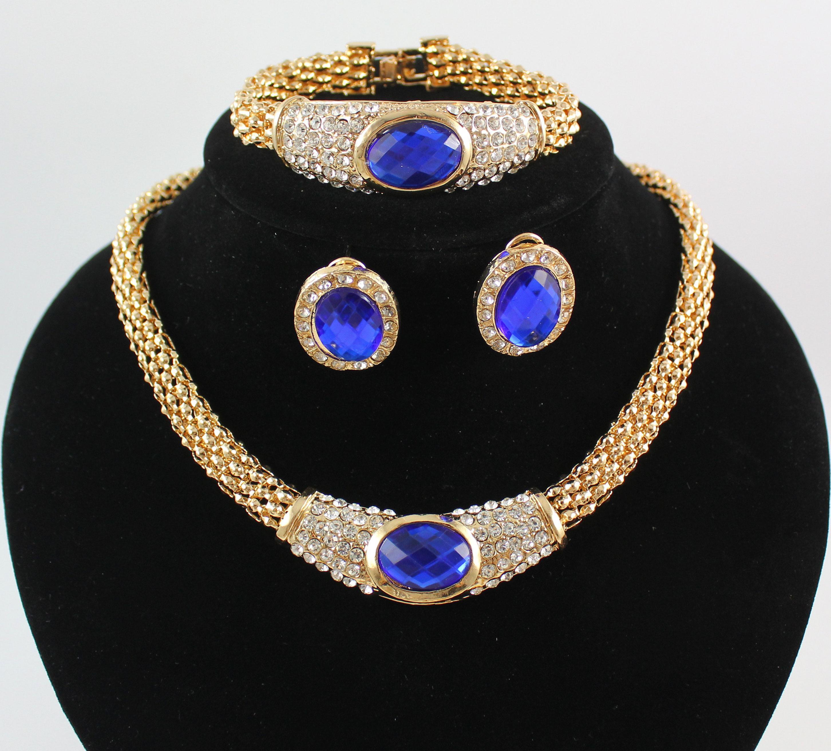 Conjuntos de joyería africana Moda 18 K chapado en oro Cristal Gema Colgante Collar Pendiente de la boda del banquete Set 4 colores elegir
