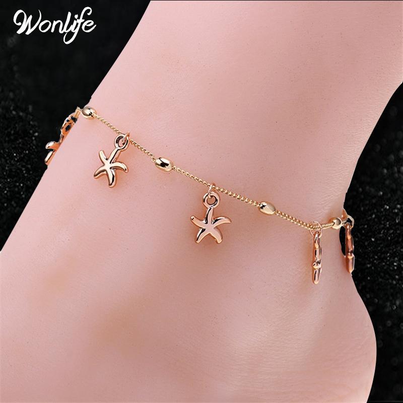 Wonlife Gussy all'ingrosso elegante Rose-gold Little Starfish Ladies catena braccialetto alla caviglia Sandalo a piedi nudi Sandali da spiaggia per gamba