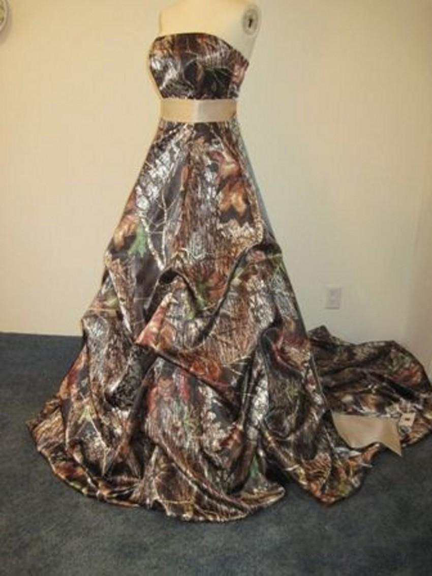 Real Picture 2015 Camouflage Wedding Dresses A Line Forest Empire Camo Bridal Dresses with Gold Sash Ruffle Formal Prom Dresses