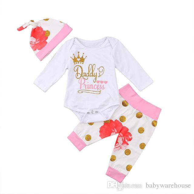 Baby Girl Clothes Set 2018 Spring Autumn Newborn Kids Daddy's Princess Letter Romper + Dot Flower Pants + Hat 3PCS Girls Clothing Set 0-24M